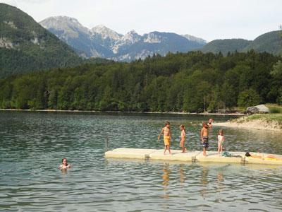 Mountain lake nude swimming