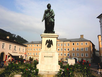 Mozart monument in the old town Salzburg